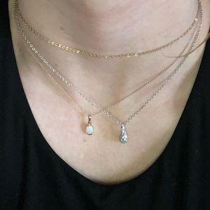 Designer crystal .925 sterling tear drop pendant